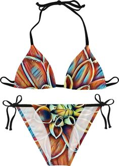 Dahlia flower bikini, colorful abstract floral pattern girls swimsuit, – Casemiro Arts - item printed at www.rageon.com/a/users/casemiroarts - also available at www.casemiroarts.com  This product is hand made and made on-demand. Expect delivery to US in 11-23 business days (international 14-33 business days).