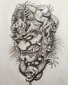 Sketches for tattoo Another collection of different sketches for future tattoos, for your tattoo master. In this collection you will find both masks of different fantastic creatures and just beautiful sketches Oni Tattoo, Hannya Maske Tattoo, Hanya Tattoo, Samurai Tattoo, Badass Tattoos, Body Art Tattoos, Sleeve Tattoos, Tattoo Drawings, Tattoo Sketches
