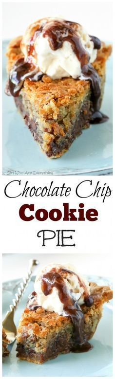 Chip Pie Chocolate Chip Pie - one of our favorite pies ever. Basically a chocolate chip cookie in a pie. the-girl-who-ate-:Chocolate Chip Pie - one of our favorite pies ever. Basically a chocolate chip cookie in a pie. the-girl-who-ate-: Chocolate Chip Cookie Pie, Chocolate Desserts, Chocolate Chocolate, Chocolate Muffins, Healthy Chocolate, Chocolate Brownies, Nutella Cookies, Chocolate Pudding, Just Desserts