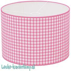 Kinderlamp ruit groot roze 35 cm