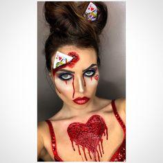Halloween queen of hearts makeup. Queen Of Hearts Halloween, Queen Of Hearts Costume, Halloween Queen, Cute Halloween Costumes, Halloween 2017, Halloween Make Up, Halloween Face Makeup, Halloween Ideas, Sfx Makeup