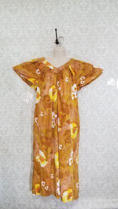 ce80884cd25 Vintage Barkcloth Hawaiian Dress MuuMuu Caftan Aloha Tiki Floral Handmade   Unbranded  Hawaiian  Casual