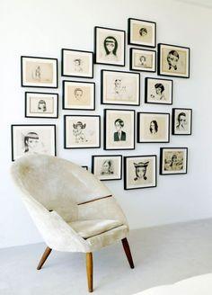 Whimsy. White walls + art frames.