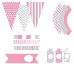 Lindo Kit en Rosa y Gris para Imprimir Gratis. | Oh My Primera Comunión!