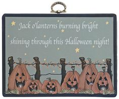 Jack O'Lanterns Chunky Sign - Kruenpeeper Creek Country Gifts