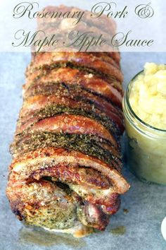 Rosemary Roasted Pork with Maple Apple Sauce Recipe _ Mmm crispy crackling...The proudest part of this is of course the crackling, heady & flavorsome with freshly ground rosemary salt. This is a Donna Hay recipe & like all of her recipes it's styled beautifully & is beautifully simple.