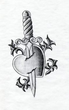 Heart and dagger tattoo design. Heart and Dagger Tattoo Broken Heart Drawings, Broken Heart Pictures, Broken Heart Tattoo, Heart Dagger Tattoo, Heart Tattoos, Broken Heart Art, Sad Drawings, Dark Art Drawings, Pencil Art Drawings