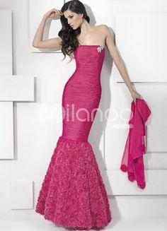 Rose Strapless Mermaid Trumpet Floor Length Chiffon Prom Dresses