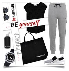"""""""#ContestOnTheGo #ContestEntry"""" by helia ❤ liked on Polyvore featuring Bobeau, Gérald Genta, bkr, Le Specs, Y-3, NIKE, contestentry and ContestOnTheGo"""