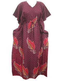 Mogul Kaftan Caftans Cotton Maxi Dress Leaf Printed One Size