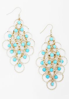 Hoop's Number One? Earrings - Blue, Solid, Statement, Gold