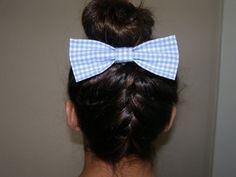 Blue Checkered Hair Bow by LittleBowElise