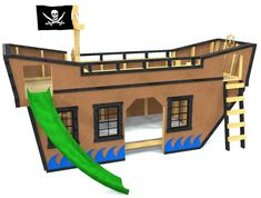 Tackle the rough seas of night time sleep with the Sea King Pirate Ship bunk bed! This cool design functions as both play and sleep time. Download today!