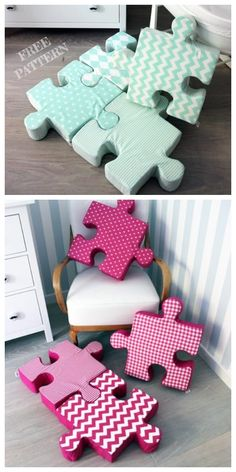 DIY Jigsaw Puzzle Pillow Free Sewing Pattern + Video - Diy and crafts interests Baby Sewing Projects, Sewing Projects For Beginners, Sewing Crafts, Diy Projects, Sewing Patterns Free, Free Sewing, Free Pattern, Diy Bebe, Ideias Diy