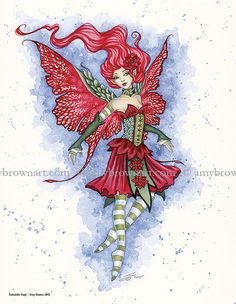 Winter Holiday fairy 8.5x11 PRINT by Amy Brown by AmyBrownArt Poinsettia Faery