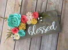 Blessed mini wood sign w/ felt flowers by TheOldWhiteShedIowa