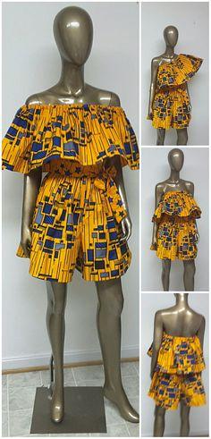 Africain impression Off-Shoulder Combi-short avec poches et ceinture. Un must have améliorer votre garde-robe pour les mois de printemps et l'été. L'été le porter de multiples façons. Longueur finie entre 33 et 36. Le short est 17 14 pouces sur les côtés. INCLUS : • Une Combi-short et une ceinture Modèle porte la taille 8. Dautres tailles disponibles dans dautres tissus DÉTAILS : • Imprimé africain. Conseils d'entretien : Lavage à froid avec comme couleurs mais nettoyer à sec préféré. Vis...