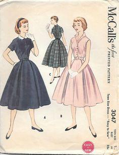 "McCalls 3047 -1950s Shirtwaist Dress Sewing Pattern Peter Pan Collar Sleeveless Dress Full Skirt ""Easy to Sew"""