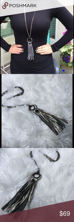 "Pewter leather tassel necklace Nwt Pewter leather tassel necklace 36"" chain 5.5"" drop David Galan x Violette Studios Jewelry Necklaces"