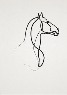 oneline Horse 0301 Art Print by quibe - X-Small Silhouette Tattoos, Horse Silhouette, Horse Outline, Horse Tattoo Design, Horse Sketch, Single Line Drawing, Horse Logo, Horse Drawings, Animal Tattoos
