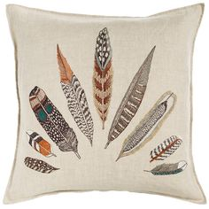 Coral and Tusk - plumes fan pillow