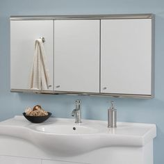 """Cosmopolitan Stainless Steel Tri-View Medicine Cabinet - 48"""" - Polished Stainless Steel"""