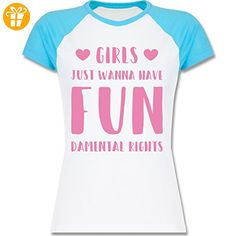 Statement Shirts - Girls just wanna have fundamental rights - XL - Weiß/Türkis - L195 - zweifarbiges Baseballshirt / Raglan T-Shirt für Damen - Shirts mit spruch (*Partner-Link)
