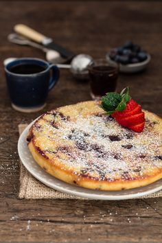 Easy baked blueberry pancake . Just think a pancake cake, chockablock with juicy blueberries in every single mouthful. Healthy blue berry pancake recipe.
