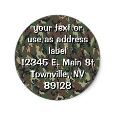 Woodland Camouflage Military Background Round Stickers by #Camouflage4you  shipping to Porter, OK