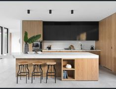 Modern House in Melbourne by Aspect 11 Kitchen Room Design, Best Kitchen Designs, Modern Kitchen Design, Home Decor Kitchen, Interior Design Kitchen, New Kitchen, Home Kitchens, Kitchen Jars, Kitchen Dining