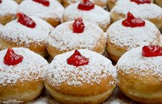 Jelly doughnuts with strawberry rhubarb jam, anyone?