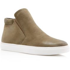 Kenneth Cole Kalvin Suede Slip On High Top Sneakers ($130) ❤ liked on Polyvore featuring shoes, sneakers, olive, slip on shoes, hi tops, high top sneakers, army green shoes and suede slip on sneakers