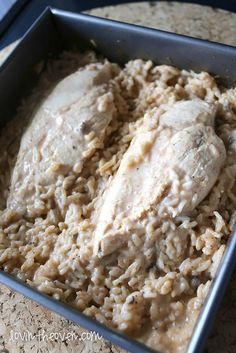Easy Chicken and Rice Recipe  Delish!! 1/29/2016 i added sauted onions, carrots and some extra seasoning my chicken was pretty thick, so the bake time wasn't long enough. After 45 min i turned the oven to 400 and baked for an additional 30 min.
