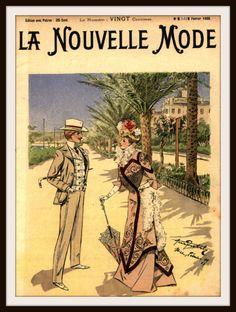 """French Magazine Paris """"La Nouvelle Mode"""" Vintage Reproduction Art Print"""