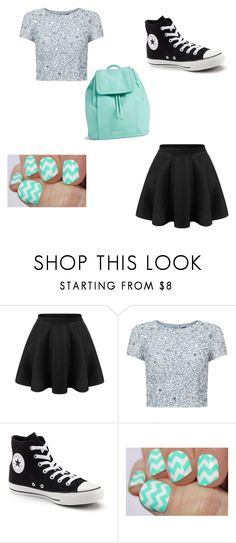 """""""Mint and black"""" by liesje-2002 on Polyvore featuring mode, Adrianna Papell, Converse en Vera Bradley"""