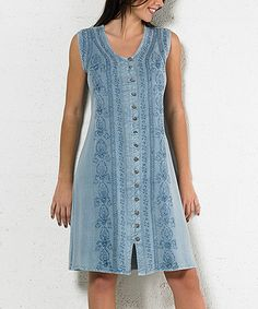 Loving this Silver Blue Embroidered Button-Up Sleeveless Dress - Plus Too on #zulily! #zulilyfinds