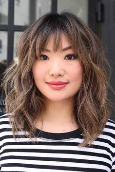 Modern Medium Hairstyles with Bangs for a New Look ★ See more: http://glaminati.com/medium-hairstyles-with-bangs/
