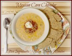 Mexican Corn Chowder Recipe ~ Under 20 Minutes (If only I hadn't burned out my blender motor ...)