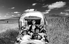 """Are those the """"hills of Beveley""""I see in the background? Airstream Land Yacht, Airstream Interior, Vintage Airstream, Airstream Trailers, Vintage Caravans, Vintage Travel Trailers, Air Stream, Camper Life, Happy Campers"""