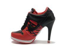 Black Red Nike SB Dunk Heels Low