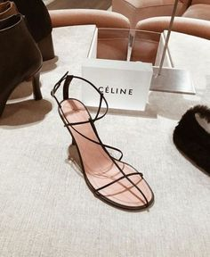 These Celine shoes are everything Pretty Shoes, Beautiful Shoes, Strappy Shoes, Shoes Heels, Sandal Heels, Celine, Look Fashion, Fashion Shoes, Style Personnel