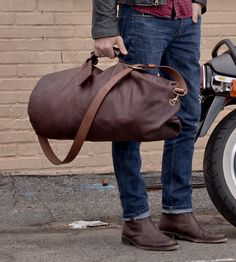 Leather Duffle Bag   Reimagined in full grain kodiak leather, this military style d...   Duffel Bags