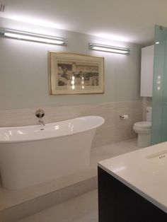Penthouse Renovation that was designed and constructed by AAI-Poggenpohl. View of Master bathroom.