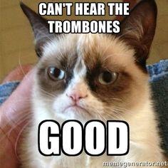 Grumpy cat doesn't care for trombones