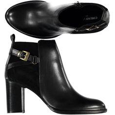 Tonchetto tacco largo 8cm in pelle e pelle scamosciata con dettaglio gold - € 62,90 | Compra le tue prossime scarpe su Nico.it - #aw14 #shoes #fashionshoes #womenfashion #scarpe #stivaletti