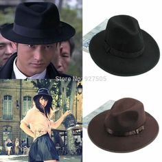 fef36671504 B39 2015 newest Vintga Women Men Wide Brim Felt Felt Wool Bowler Floppy  Cloche Cowboy Fedora