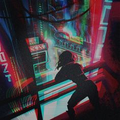 MTL Writer, daydreamer and resident cyberpunk. The brain that collates this visualgasm also assembles words into post-cyberpunk dystopia: my. Arte Cyberpunk, Ville Cyberpunk, Cyberpunk Aesthetic, Cyberpunk City, Cyberpunk Anime, New Retro Wave, Retro Waves, Computer Illustration, Illustration Art