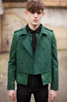 Men's green trench style jacket