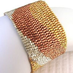 Mixed Metals Color Ribbon Peyote Cuff Bracelet 2265 by SandFibers
