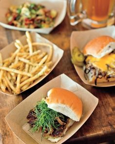 Green Dot Stables: This former cop bar has been reinvented with jockey-themed decor & a menu of unexpected slider variations: pork butt w/ cabbage & Granny Smith apple, & beef with peanut butter & kimchi. - 2200 West Lafayette Boulevard, greendotstables.com.